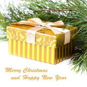 Gold box, gift on Christmas, new year, background — Stock Photo