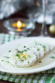 Roulade roll of white fish fillet cod stuffed with egg, sauce be — Stock Photo