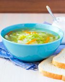 Vegetable soup with cabbage, kohlrabi, carrots, healthy vegetari — Stock Photo