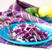 Fresh vegetable salad with red cabbage, kohlrabi, apple, cilantr — Stock Photo