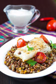 White fish fillet of perch, cod with vegetables and lentils, tom — Stock Photo