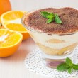 Photo: Orange tiramisu with mint, mascarpone cheese, savoyardi biscuit,