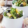 Potato salad with green beans, olives, capers, onions, delicious — Stock Photo #44125713