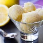 Lemon ice cream sorbet, balls in glass, refreshing summer diet d — Stock Photo