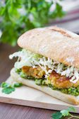 Vegetarian burger c lentils, guacamole, ciabatta, lettuce, delic — Stock Photo