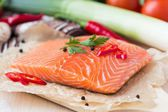 Raw fillets of red fish, salmon, cooking healthy diet dishes for — Stock Photo