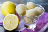 Lemon ice cream sorbet, balls in glass, refreshing summer diet d — Stock Photo