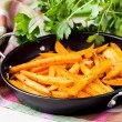 Sweet potatoes, batata, sliced, fried in pan with spices, herb — Stock Photo #46092491