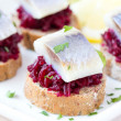 Canape herring with beets on rye toast, tasty starter, appertise — Stock Photo #46092629