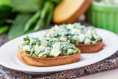 Sandwich with eggs salad, green herb, parsley, ramson, spring on — Stock Photo