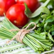 Bunch of green spring chives bow tied with ribbon, vegetables — Stock Photo #48792481
