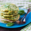 Green pancakes with herbs parsley, spinach, onions, delicious su — Stock Photo #48792945