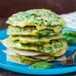 Green pancakes with herbs parsley, spinach, onions, delicious su — Stock Photo #48792967