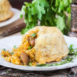 Постер, плакат: Oriental shah pilaf pilaw plov rice with meat in filo
