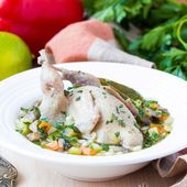 Summer soup with quail, vegetables, pearl barley, herbs, tasty m — Stock Photo
