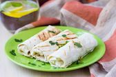 Grilled rolls of bread lavash with cheese suluguni, peppers, pic — Stock Photo