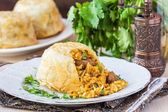 Oriental shah pilaf, pilaw, plov, rice with meat in filo — Stock Photo