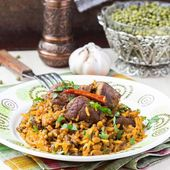 Plov, pilaf with rice, meat, beef, mutton, beans mash — Stock Photo