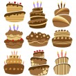 Abstract birthday cake set - Stock Vector