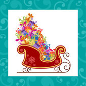 Santa sled with colorful gifts — Stock Vector