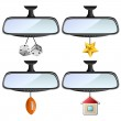 Car mirror set with different decorations — Stock Vector #16492047
