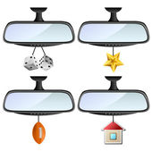 Car mirror set with different decorations — Stock Vector