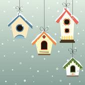 зимой дома птицы — Cтоковый вектор