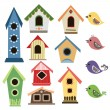 Abstract birdhouse set with birds — Stock Vector