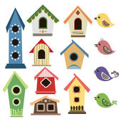 Abstract birdhouse set with birds — Stock Vector