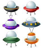 Cartoon ufo set — Stock Vector