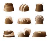 Chocolade bonbon lieverd set — Stockvector
