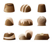 Chocolate bonbon sweetie set — ストックベクタ