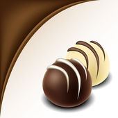 Chocolate text frame with chocolate bonbon — Stock Vector