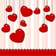 Valentine day card with hanged hearts — Stock Vector