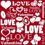 Valentine pattern with love symbols — Stock Vector
