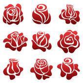 Rose symbol set — Stock Vector