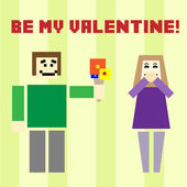 Valentine day card with square boy and girl — Stock Vector