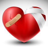 Broken heart with bandage — Stockvector