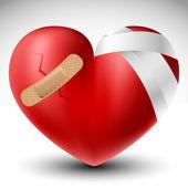 Broken heart with bandage — Stock Vector