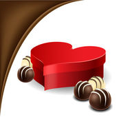 Heart box with chocolate praline for Valentine — Stock Vector