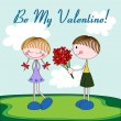 Cartoon Valentine card with girl and boy — Image vectorielle