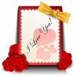 Valentine card with red rose — Imagen vectorial