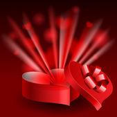 Glowing heart shaped box — Stock Vector