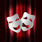 Theater masks with red curtain — Stock Vector