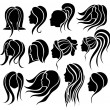 Woman face and hair icon set — Stock Vector