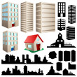 Building and cityscape set — Stock Vector