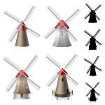 Windmill set — Stock Vector