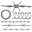 Stock Vector: Barbed wire set