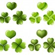 Three and four leaf clover set — Stock Vector