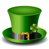 St Patricks day hat with clover — Stock Vector